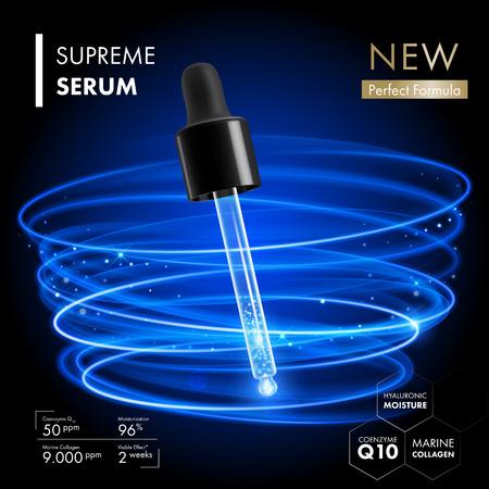 Il collagene siero contagocce con essenza coenzima Q10. Premium disegno collagene cura della pelle con gli anelli al neon blu di luce di fondo. trattamento skincare Vettoriali