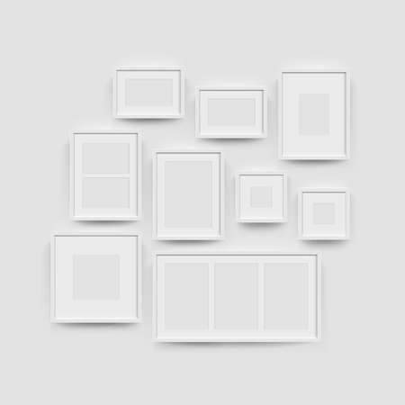 Picture frame set for photographs. Vector realisitc paper or plastic white picture-framing mat with white borders. Isolated square picture frame A3, A4 vertical, triptych, diptych, mockup template Illustration