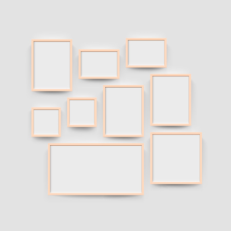 Picture frame set for photographs. Vector realisitc paper or plastic white picture-framing mat with red borders. Isolated square picture frame A3, A4 vertical, triptych, diptych, mockup template