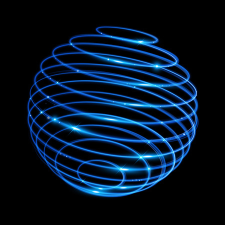 fire wire: Vector blue neon sphere circles light train effect. Glowing atom structure with magic neon ring trace. Glitter sparkle swirl trail effect on black background Illustration