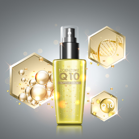 Gold oil serum skincare treatment. Honeycomb elements with precious oil, coenzyme Q10 and DNA helix across cosmetic bottle. Anti-aging treatment solution on premium background