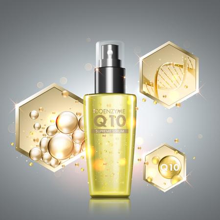 trattamento di cura della pelle siero di olio d'oro. elementi a nido d'ape con olio prezioso, il coenzima Q10 e elica del DNA attraverso la bottiglia cosmetica. Anti-aging soluzione di trattamento su sfondo premium