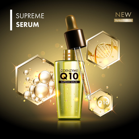 healthy woman: Coenzyme Q10 serum essence golden drops with dropper. Skin care collagen hyaluronic moisture formula treatment with honeycomb design elements. Anti-age DNA helix protection and lifting solution