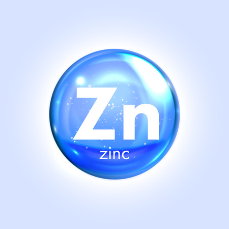 Zinc mineral blue icon. Vector 3D glossy drop pill capsule. Mineral and vitamin complex. Healthy life medical and dietary supplement