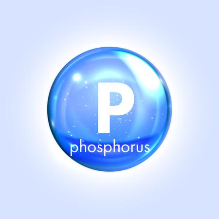 Le phosphore minéral icône bleue. Vecteur 3D chute brillante pilule capsule. Minéraux et complexe de vitamines. supplément médical et alimentaire vie en bonne santé