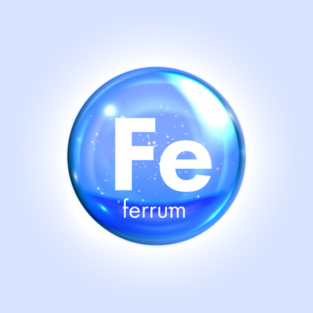 Ferrum mineral blue icon. Vector 3D glossy drop pill capsule. Mineral and vitamin complex. Healthy life medical and dietary supplement