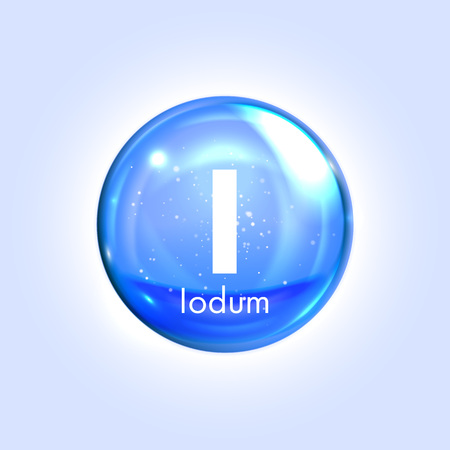 biochemical: Iodum, iodine mineral blue icon. Vector 3D glossy drop pill capsule. Mineral and vitamin complex. Healthy life medical and dietary supplement