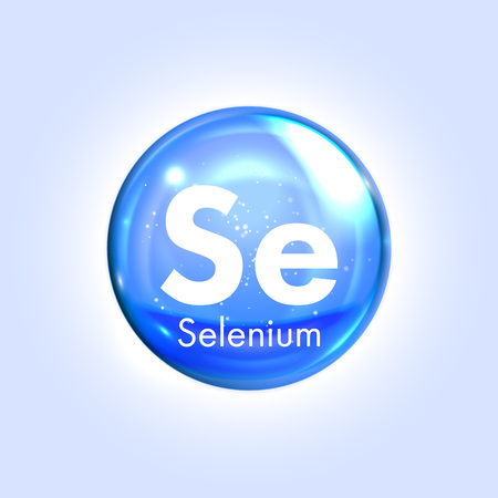 Selenium mineral blue icon. Vector 3D glossy drop pill capsule. Mineral and vitamin complex. Healthy life medical and dietary supplement
