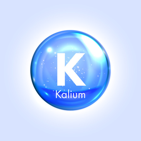 potassium: Kalium, potassium mineral blue icon. Vector 3D glossy drop pill capsule. Mineral and vitamin complex. Healthy life medical and dietary supplement