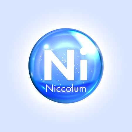mineral: Niccolum mineral blue icon. Vector 3D glossy drop pill capsule. Mineral and vitamin complex. Healthy life medical and dietary supplement