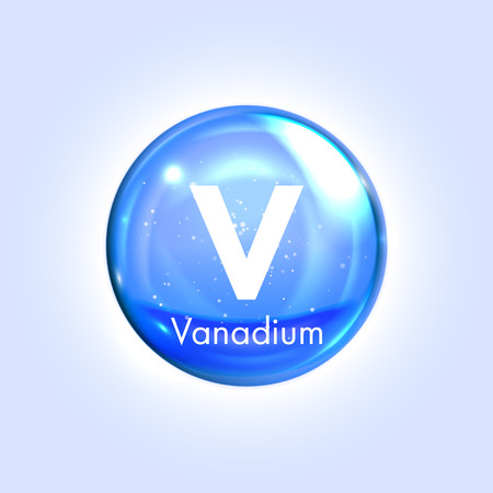 mineral: Vanadium mineral blue icon. Vector 3D glossy drop pill capsule. Mineral and vitamin complex. Healthy life medical and dietary supplement