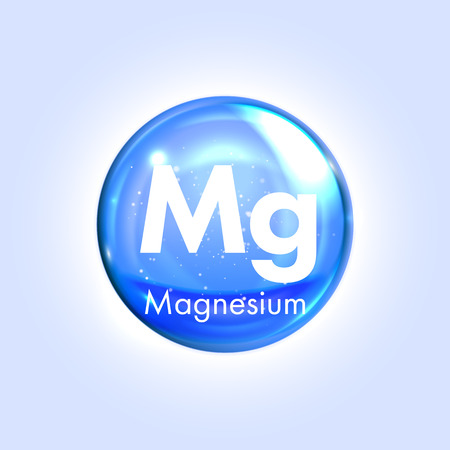 Magnesium mineral blue icon. Vector 3D glossy drop pill capsule. Mineral and vitamin complex. Healthy life medical and dietary supplement Stock Illustratie