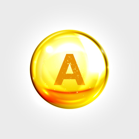 vitamine: Vitamin A gold icon. Retinol vitamin drop pill capsule. Shining golden essence droplet. Beauty treatment nutrition skin care design. Vector illustration