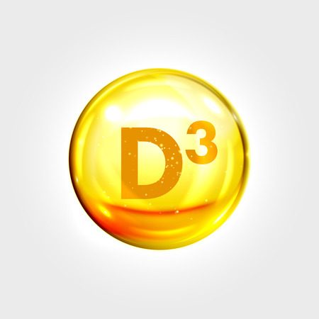 vitamins: Vitamin D3 gold icon. Cholecalciferol vitamin drop pill capsule. Shining golden essence droplet. Beauty treatment nutrition skin care design. Vector illustration