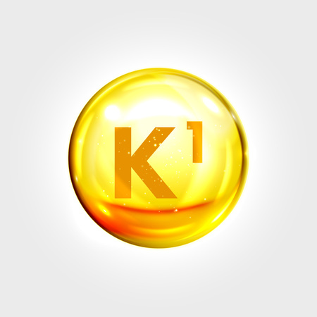 nutrition icon: Vitamin K1 gold icon. Phylloquinone vitamin drop pill capsule. Shining golden essence droplet. Beauty treatment nutrition skin care design. Vector illustration Illustration