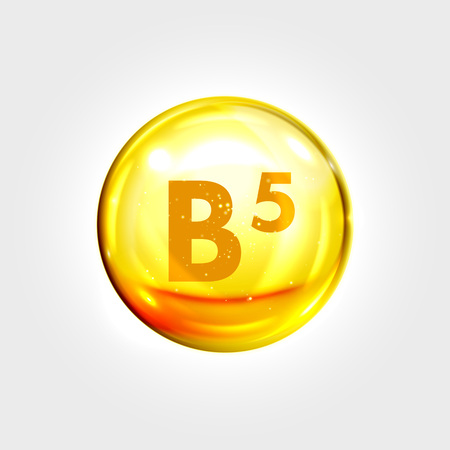 healthy woman: Vitamin B5 gold icon. Pantothenic acid vitamin drop pill capsule. Shining golden essence droplet. Beauty treatment nutrition skin care design. Vector illustration