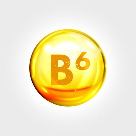 beauty treatment: Vitamin B6 gold icon. Pyridoxine vitamin drop pill capsule. Shining golden essence droplet. Beauty treatment nutrition skin care design. Vector illustration