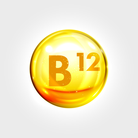 Vitamin B12 gold icon. Cobalamin vitamin drop pill capsule. Shining golden essence droplet. Beauty treatment nutrition skin care design. Vector illustration Çizim