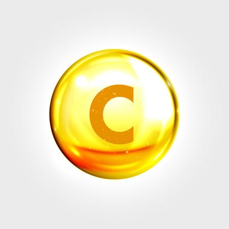 ascorbic acid: Vitamin C gold icon. Ascorbic acid vitamin drop pill capsule. Shining golden essence droplet. Beauty treatment nutrition skin care design. Vector illustration