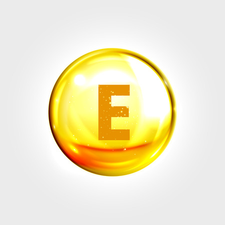 vitamins: Vitamin E gold icon. Vitamin tocopherol (tocotrienol) drop pill capsule. Vector shining golden essence droplet. Beauty treatment nutrition skin care design Illustration
