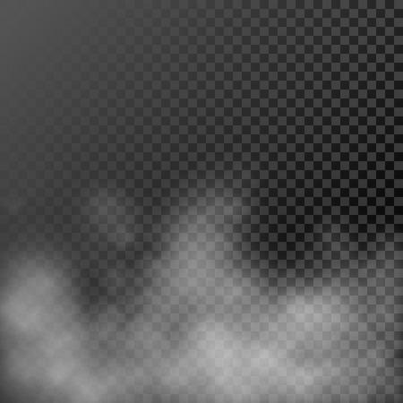 fume: White steamy haze on transparent background. Vector evaporating fume