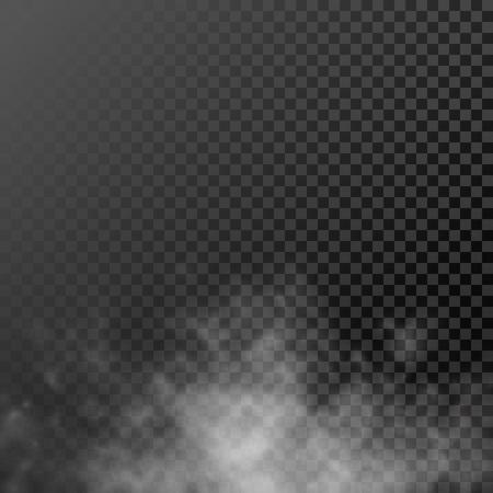 White translucent smog vapor on background. Vector rising smoke mist
