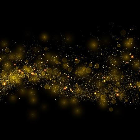 L'oro scia di polvere scintillante stella particelle scintillanti su sfondo nero. Spazio coda di cometa. Vector moda glamour illustrazione