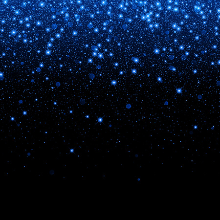 Vector neon blue glitter particles background effect for luxury greeting rich card. Sparkling snow flakes texture. Star dust sparks in explosion on black background. Ilustracja