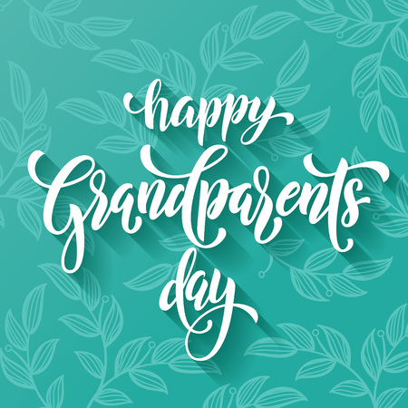 artisitc: Happy Friendship Day lettering for grandfather, grandmother greeting card. Hand drawn vector calligraphy. Floral leaves pattern banner Illustration
