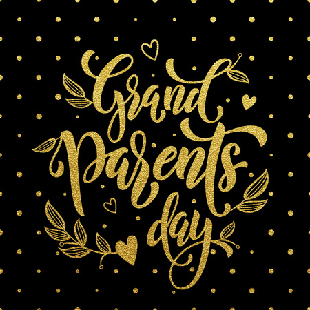 grandfather and grandmother: Happy Grandparents Day gold lettering for grandfather, grandmother greeting card. Hand drawn vector calligraphy. Polka dot golden glitter black banner