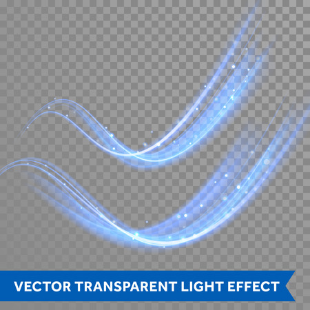 Vector magic blue glowing spark swirl trail effect on transparent christmas background. Boken glitter blue wave line with flying sparkling neon light flashes
