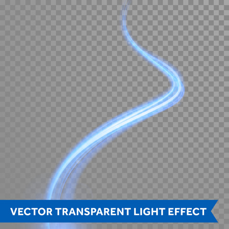 Vector blue light trace effect. Blue neon glowing spark swirl trail tracing ontransparent christmas background