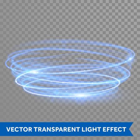 Vector blauwe cirkel licht met traceren effect. Gloeiende magische neon brand ring spoor. Glitter fonkelingswerveling kaart op transparante kerst achtergrond. Glitter round ellips lijn van sprankelende flitslichten