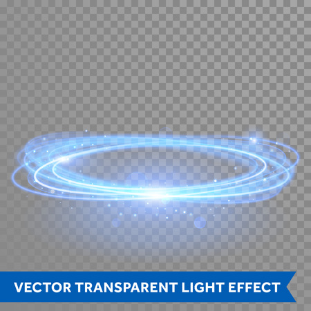 light trail: Vector blue circle light with tracing effect. Glowing magic fire ring trace. Glitter sparkle swirl trail on transparent christmas background. Glitter round ellipse line of flying sparkling lights