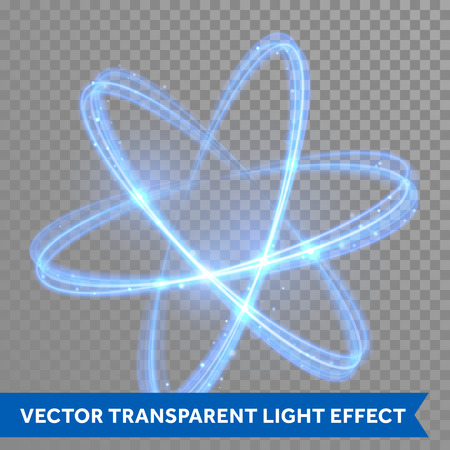 Vector blue neon crossed circles light train effect. Glowing atom structure with magic fire ring trace. Glitter sparkle swirl trail effect on transparent christmas background Ilustração