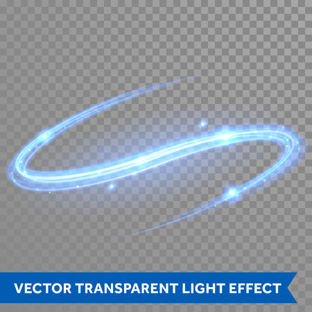 Vector blue neon light trace with star glitter flare magic effect. Glowing smooth rotating curve on transparent christmas background