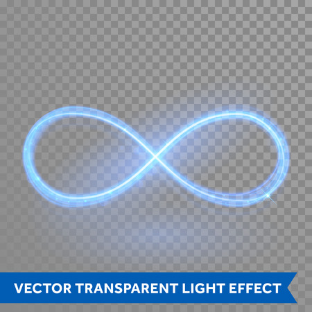 light traces: Vector blue magic glowing light infinity sign swirl trail on transparent christmas background. Blue neon glitter fire spark spiral wavy line