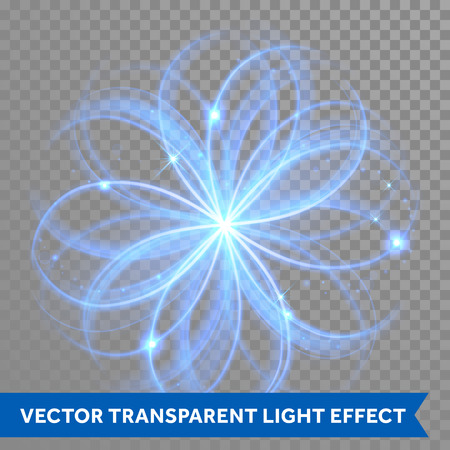 flower shape: Vector blue magic glowing light flowery swirl with trail trace effect on transparent christmas background. Blue neon glitter fire spark spiral wave line with flying sparkling flash lighs