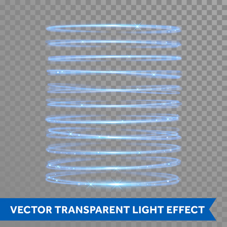 Vector light neon circle effect. Glowing blue ring trace. Glitter magic sparkle swirl trail effect on transparent background. Bokeh glitter round wave line with flying sparkling flash lights Illustration