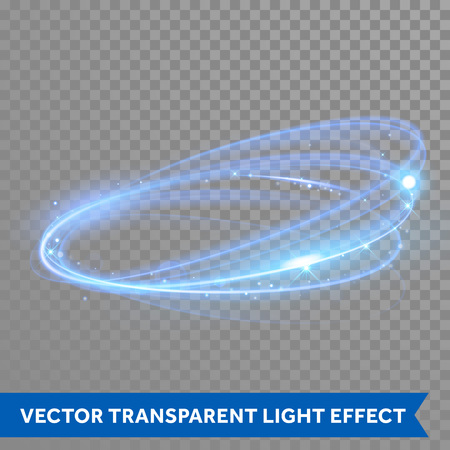 Vector neon light circle in motion. Glowing blue ring trace. Glitter magic sparkle swirl trail effect on transparent background. Bokeh glitter round wave line with flying sparkling flash lights