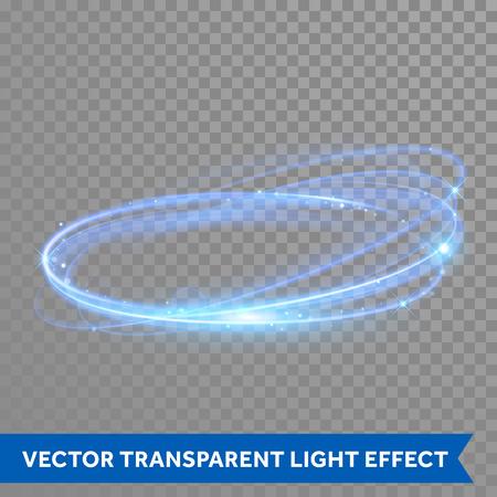 Wektor neon koło w ruch. Świecące niebieski pierścień śladu. Glitter Magiczny blask wirowa efekt szlak na przezroczystym tle. Bokeh brokat linii okrągłe fali z latającymi musujących świateł błyskowych