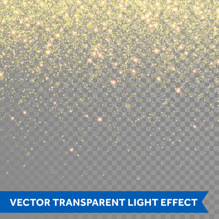 Vector gold glitter particles background effect for luxury greeting rich card. Sparkling texture. Star dust sparks in explosion on transparent background.