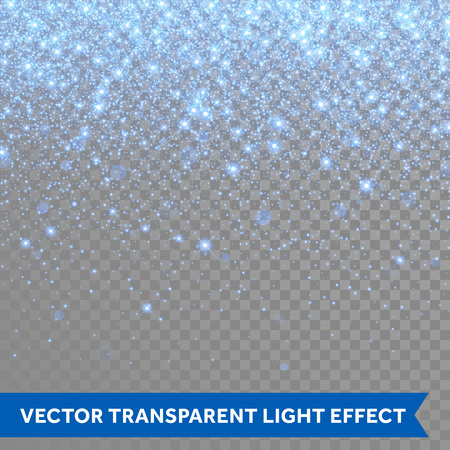 Vector neon blue glitter particles background effect for luxury greeting rich card. Sparkling snow flakes texture. Star dust sparks in explosion on transparent background.