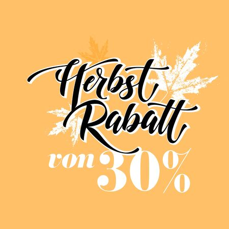 Herbstrabatt von 30 percent. Autumn sale banner modern lettering in German Illustration