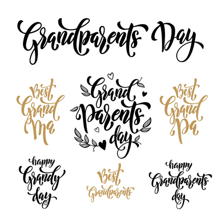 artisitc: Happy Grandparents Day artisitc lettering for grandfather, grandmother greeting card. Hand drawn vector calligraphy Grand Ma, Grand Pa. Floral and hearts pattern banner