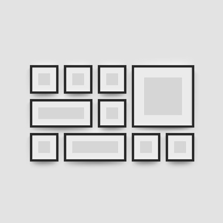 Picture frame set for photographs. Vector realisitc paper or plastic white picture-framing mat with black borders. Isolated square picture frame A3, A4 vertical, triptych, diptych mockup template