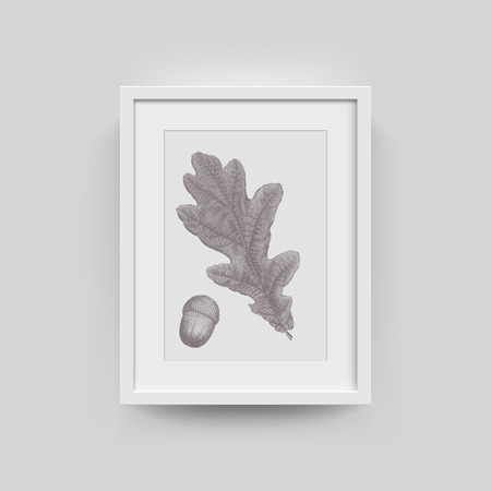 a4 borders: Picture frame with autumn leaf photograph. Vector realisitc paper plastic white picture-framing mat with wide borders shadow. Isolated picture frame A3, A4 vertical mockup template on gray