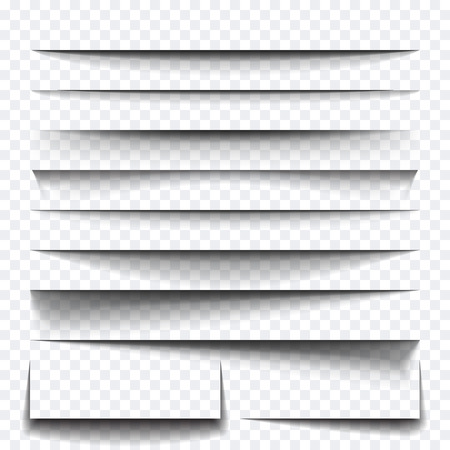 Paper sheet shadow effect. Vector transparent realistic shadows set for advertising banner templates.Vector shadow with multiply layer effect