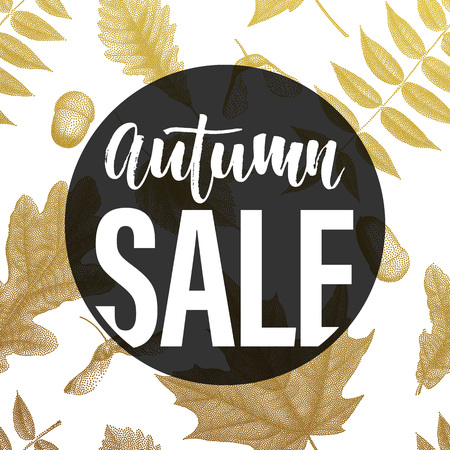 acer: Autumn sale poster. Gold vintage engraving of autumn leaves on white background. Seamless pattern. Vector golden autumnal oak, maple, acer, rowan leaf