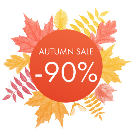 90 percent autumn sale circle banner. Vector discount offer placard with autumn red maple, orange oak, yellow rowan leaf foliage on white background Illustration